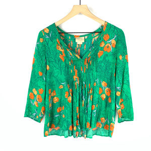 Vanessa Virginia Anthro Green Floral Blouse Sz 4